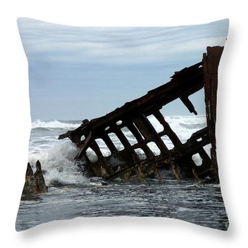 Throw Pillow featuring the photograph Wreck Of The Peter Iredale by Chalet Roome-Rigdon