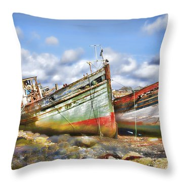 Throw Pillow featuring the photograph Wrecked Boats by Craig B
