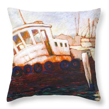 Throw Pillow featuring the painting Wrecked Tug by Charles Munn