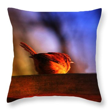 Wren In Early Morning's Light - Featured In In Newbies-nature Wildlife- Comfortable Art Groups Throw Pillow by EricaMaxine  Price