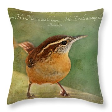Wren With Verse Throw Pillow by Debbie Portwood
