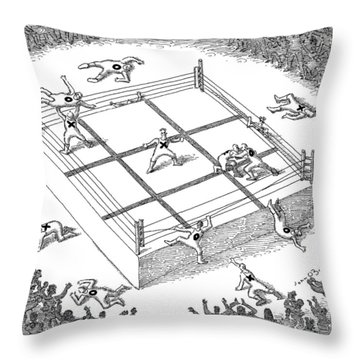 Wrestlers Wearing Bodysuits With X Or O Fight Throw Pillow