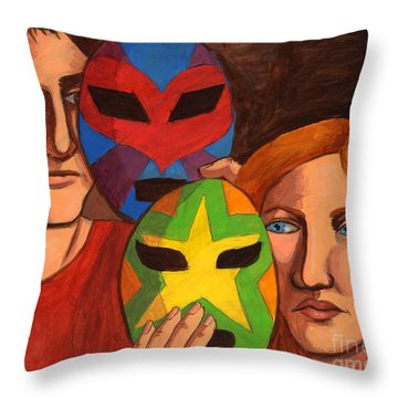 Wrestling With Their Feelings Throw Pillow by Whitney Morton