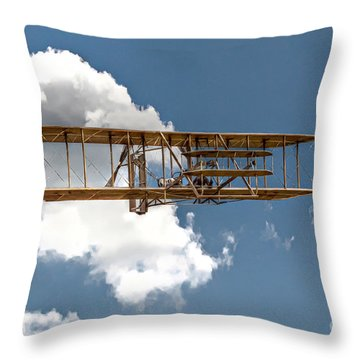 Wright Brothers First Flight Throw Pillow by Randy Steele