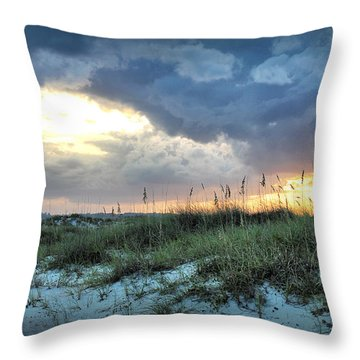 Wrightsville Beach South End Sunset Throw Pillow