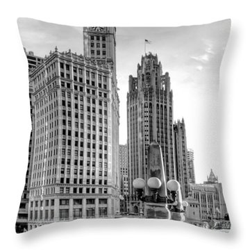 Wrigley And Tribune Throw Pillow