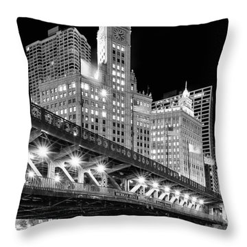 Wrigley Building At Night In Black And White Throw Pillow by Sebastian Musial