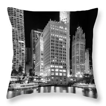 Wrigley Building Reflection In Black And White Throw Pillow by Sebastian Musial