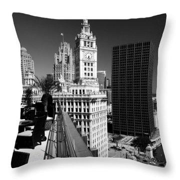 Wrigley Clock Tower Skyline Black White Throw Pillow