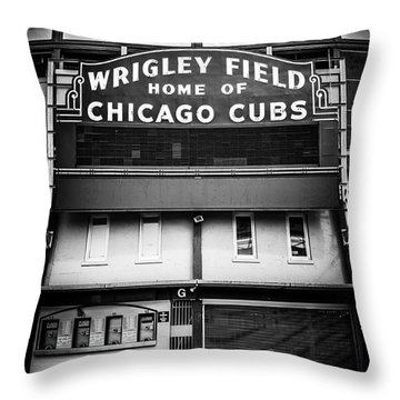 Wrigley Field Chicago Cubs Sign In Black And White Throw Pillow by Paul Velgos