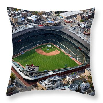 Wrigley Field Chicago Sports 02 Throw Pillow by Thomas Woolworth