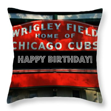 Wrigley Field -- Happy Birthday Throw Pillow