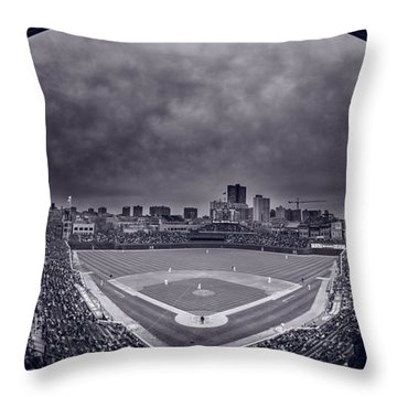 Wrigley Field Night Game Chicago Bw Throw Pillow