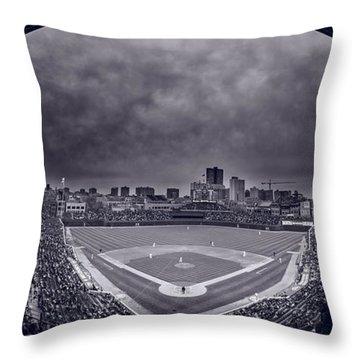 Wrigley Field Night Game Chicago Bw Throw Pillow by Steve Gadomski