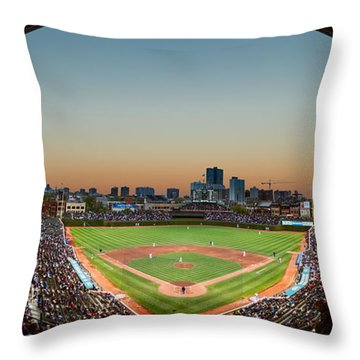 Wrigley Field Night Game Chicago Throw Pillow