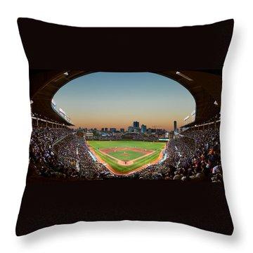 Wrigley Field Night Game Chicago Throw Pillow by Steve Gadomski