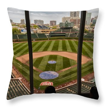 Wrigley Field Press Box Throw Pillow by Tom Gort
