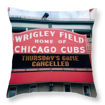 Wrigley Field Weeps For America Throw Pillow by Sheri Keith