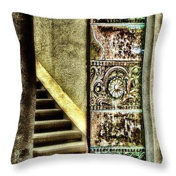 Wrigley's Tower Bronze Doors By Diana Sainz Throw Pillow