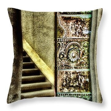 Wrigley's Tower Bronze Doors By Diana Sainz Throw Pillow