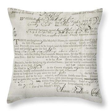 Writ Of Debt, 1762 Throw Pillow