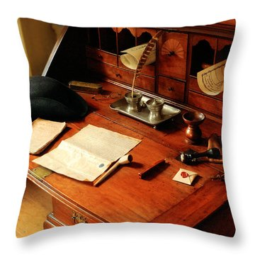 Writer - The Desk Of A Gentleman  Throw Pillow by Mike Savad