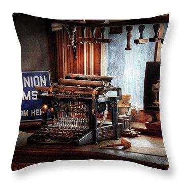 Writer - Typewriter - The Aspiring Writer Throw Pillow by Mike Savad