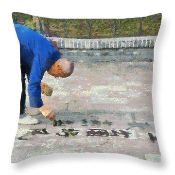 Writing With Water Throw Pillow by George Atsametakis