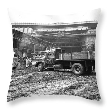 Wtc 1968 Blasting Throw Pillow by William Haggart