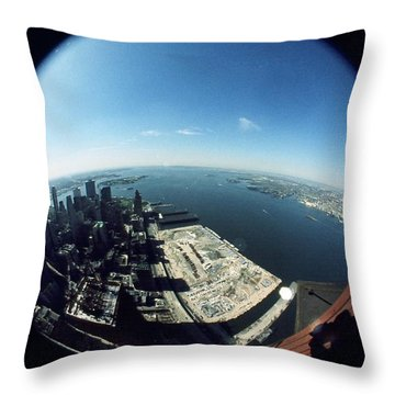 Wtc North Tower Hudson River Throw Pillow
