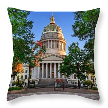 Wv Capitol As Dusk Throw Pillow by Mary Almond