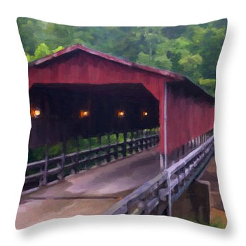 Wv Covered Bridge Throw Pillow