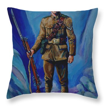 Ww 1 Soldier Throw Pillow by Derrick Higgins