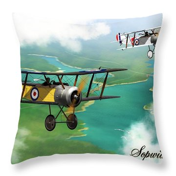 Ww1 British Sopwith Scout Throw Pillow