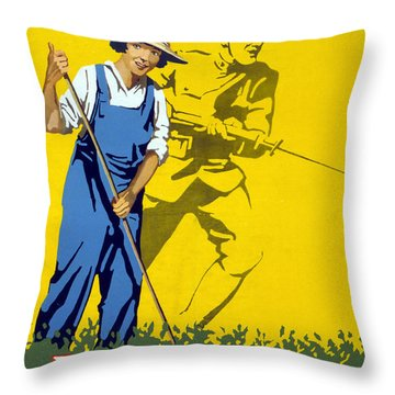 Wwi Join The Land Army 1918 Throw Pillow by Photo Researchers