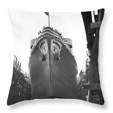 Wwii Maritime Ship Nose Art Throw Pillow