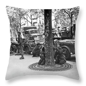 Wwii Paris Troops Throw Pillow