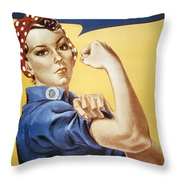 Wwii: Rosie The Riveter Throw Pillow