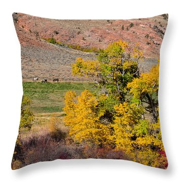 Wyoming Horse Country Throw Pillow