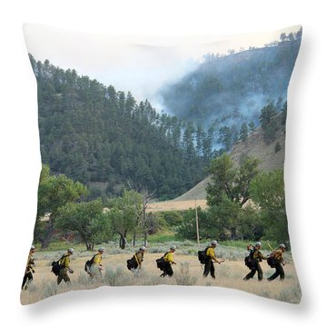 Throw Pillow featuring the photograph Wyoming Hot Shots Walk To Their Assignment by Bill Gabbert