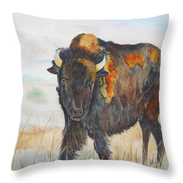 Wyoming - King Of The Prairie Throw Pillow
