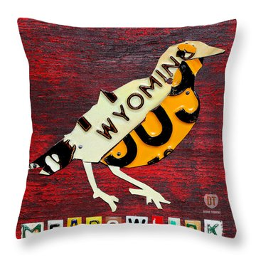 Wyoming Meadowlark Wild Bird Vintage Recycled License Plate Art Throw Pillow by Design Turnpike
