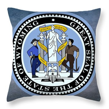 Wyoming State Seal Throw Pillow by Movie Poster Prints