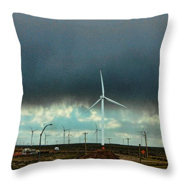 Wyoming Wind Farm Throw Pillow by Ron Roberts
