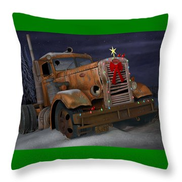 Throw Pillow featuring the digital art X-mas Pete by Stuart Swartz