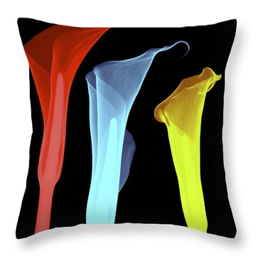 X-ray Of Three Lilies Throw Pillow by Bert Myers