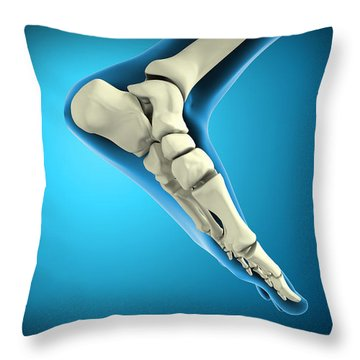 X-ray View Of Bones In Human Foot Throw Pillow by Stocktrek Images