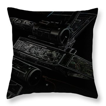 Throw Pillow featuring the digital art X Wing Fighter Color by Chris Thomas