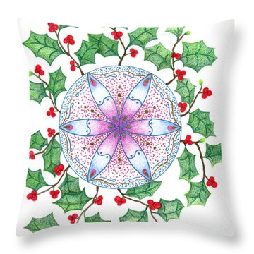 X'mas Wreath Throw Pillow by Keiko Katsuta