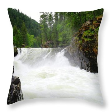Yaak Falls Throw Pillow by Jeff Swan